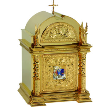 Renaissance table tabernacle, made of gilded brass and decorated with the effigy of the Immaculate Conception enamelled on the door
