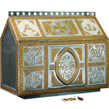 Tassilo Tabernacle in two-tone brass in Celtic style finely worked with a filigree and internally decorated and finished with a 24 carat gold bath.