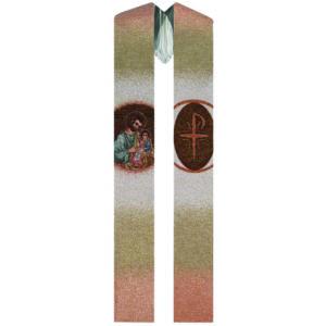 Stole saint joseph embroidered on the loom