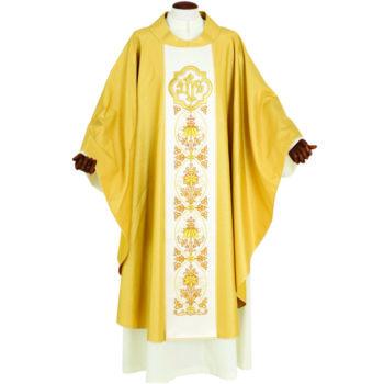 """Casula """"Figliol-Prodigo"""" Maranatha Lab in tessuto lamè oro con stolone ricamato a motivi floreale e JHS."""