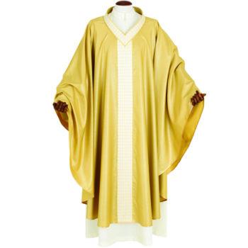 """Casula """"Cafarnao"""" Maranatha Lab in tessuto lana arricchita da gallone ricamato a mano con fili dorati."""
