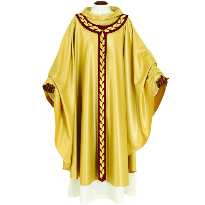 """Classic-cut """"Cana"""" Maranatha Lab chasuble made of wool fabric with pallium embroidered with olive motif"""