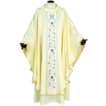 "Casula ""Betlemme"" Maranatha Lab mariana in tessuto misto seta con gallone ricamato a motivi floreali."