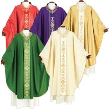 """Casula """"Filippi"""" Maranatha Lab confezionata in tessuto fresco lana con gallone ricamato in fili oro a motivi floreali"""
