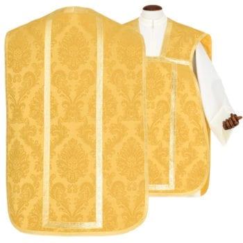 """Pianeta """"Acqua-Viva"""" Maranatha Lab in tessuto damascato completa di stola taglio romano. Interamente realizzata nella nostra bottega artigiana."""