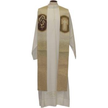 """Stola """"Sacra-Famiglia"""" Maranatha Lab interamente tessuta e ricamata al telaio con effigie della Sacra Famiglia"""
